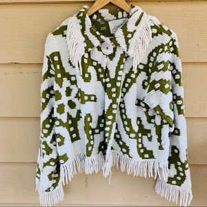 Vintage Chenille Fringed Jacket  Green White